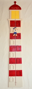 Personalized christening gift lighthouse yardstick with scale and picture frame